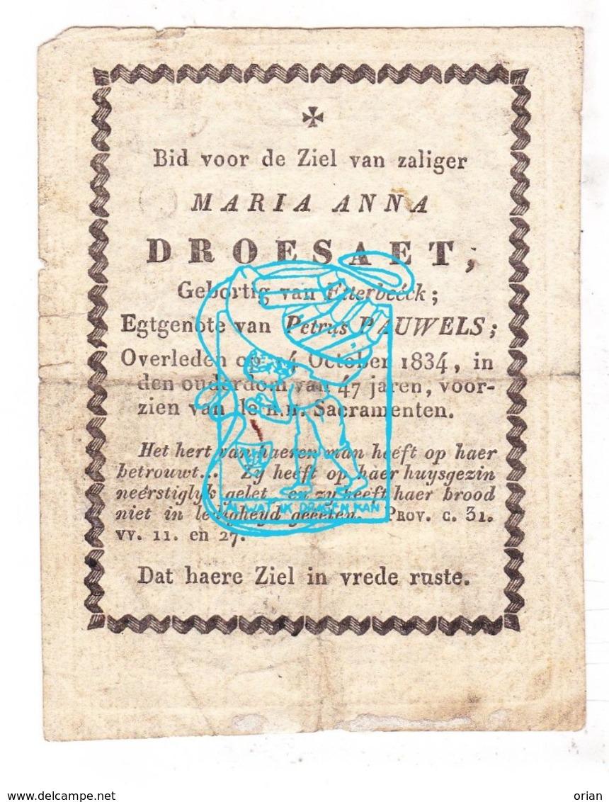 DP Maria Anna Droesaet ° Etterbeek 1887 † 1834 X Petrus Pauwels / Gravure A. Voet - H. Agatha - Images Religieuses
