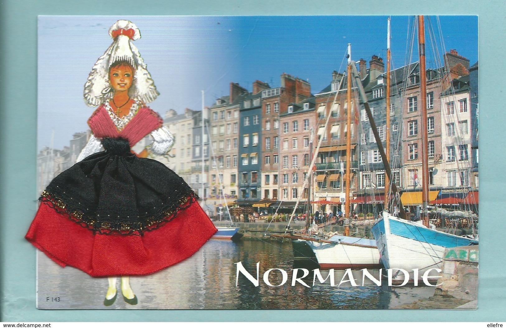 Carte Brodée Normandie - Femme En Costume Régional Port - Ed Jack Neuve - Embroidered