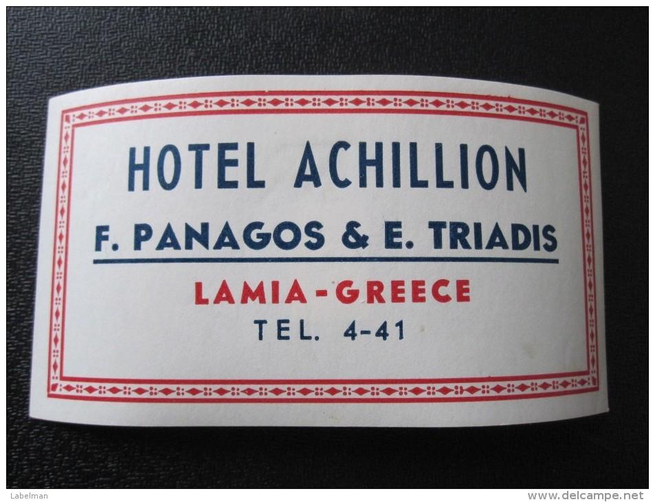 HOTEL MOTEL INN RESIDENCE HOUSE ACHILLION LAMIA HELIOS GREECE LUGGAGE LABEL ETIQUETTE AUFKLEBER DECAL STICKER - Etiketten Van Hotels