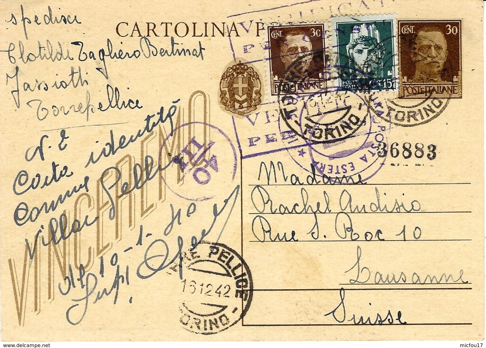 1942- C P E P 30 C + Compl. à 45 C   De Torre Pellice Pour La Suisse - Censure Italienne - Interi Postali