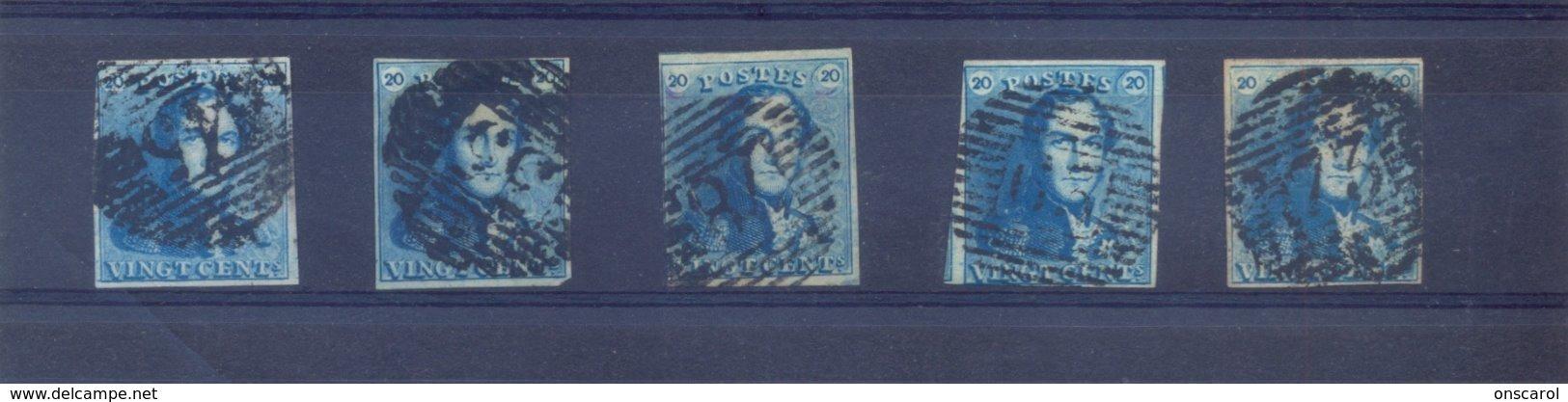 5 Epauletten Gestempeld 20 Ct - 1849 Schulterklappen