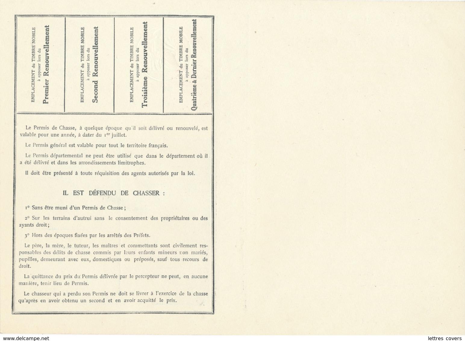 """1934 PERMIS DE CHASSE DEPARTEMENTAL NON PLIÉ - SPECIMEN  - """" PRIX PORTÉ DE 44f à 54f : 5'f """" + DAUSSY PRIX 44F - Documentos Históricos"""