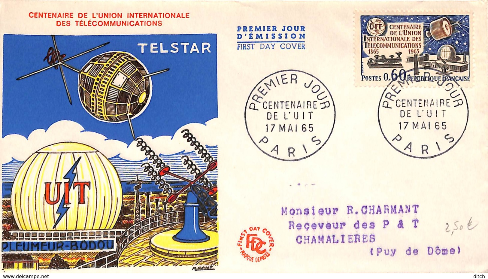 D - [406914]B/TB//-France  - Centenaire De L'Union Internationale Des Télécommunications - Raumfahrt