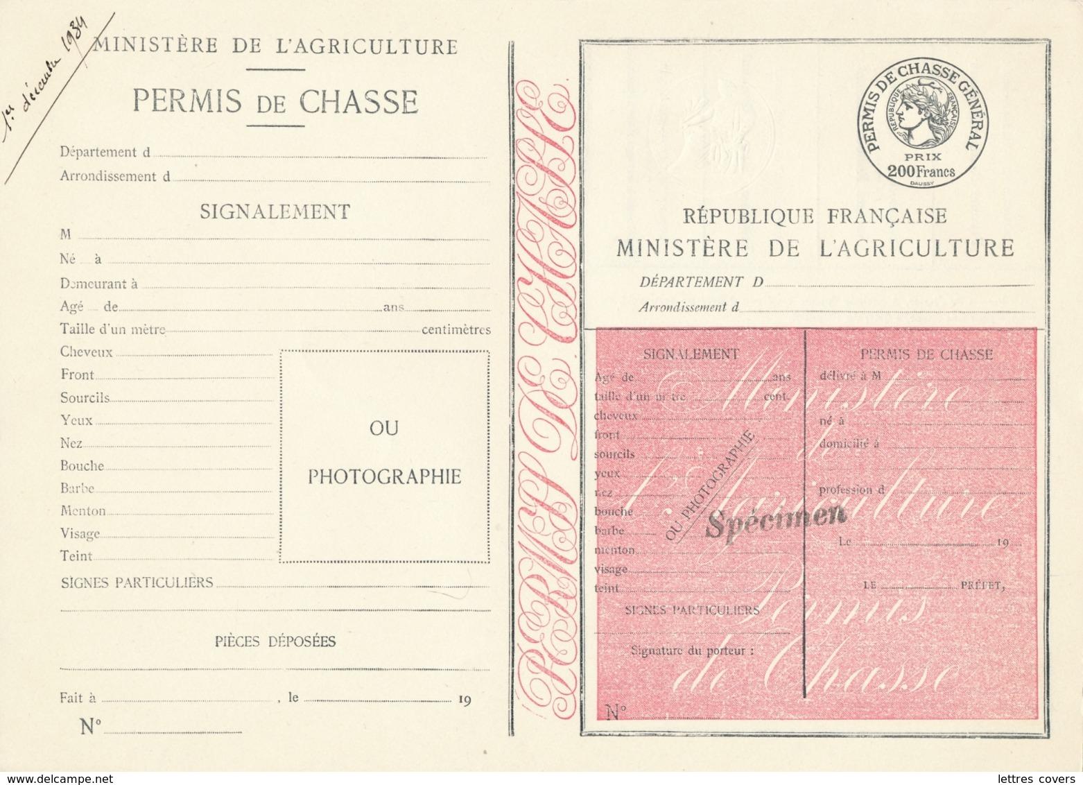 """PERMIS DE CHASSE DEPARTEMENTAL NON PLIÉ - SPECIMEN  - """" Prix : 200f - MINISTERE AGRICULTURE - FISCAL PAPIER TIMBRÉ - Documents Historiques"""
