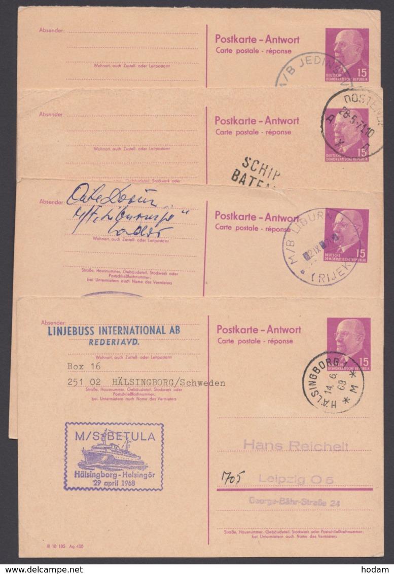 Mi-Nr. P74A, 4 Karten Mit Versch Schiffspost- Stempeln, Ansehen - DDR