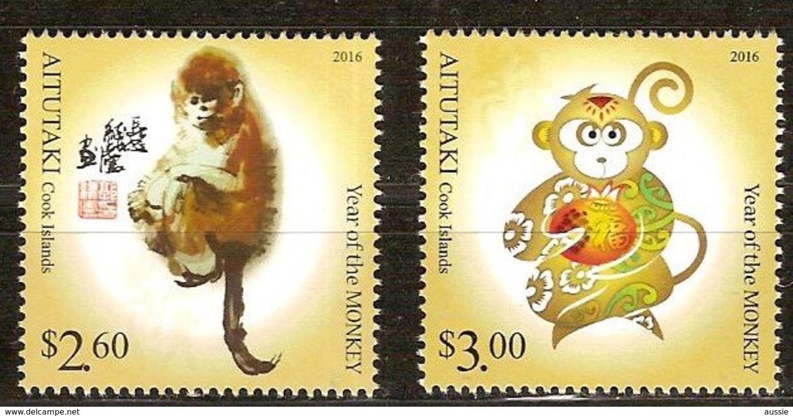 Aitutaki 2015 Yvertn° 687-688*** MNH   Cote 13 € Année Faune Chinoise Du Singe Apen Monkeys - Aitutaki