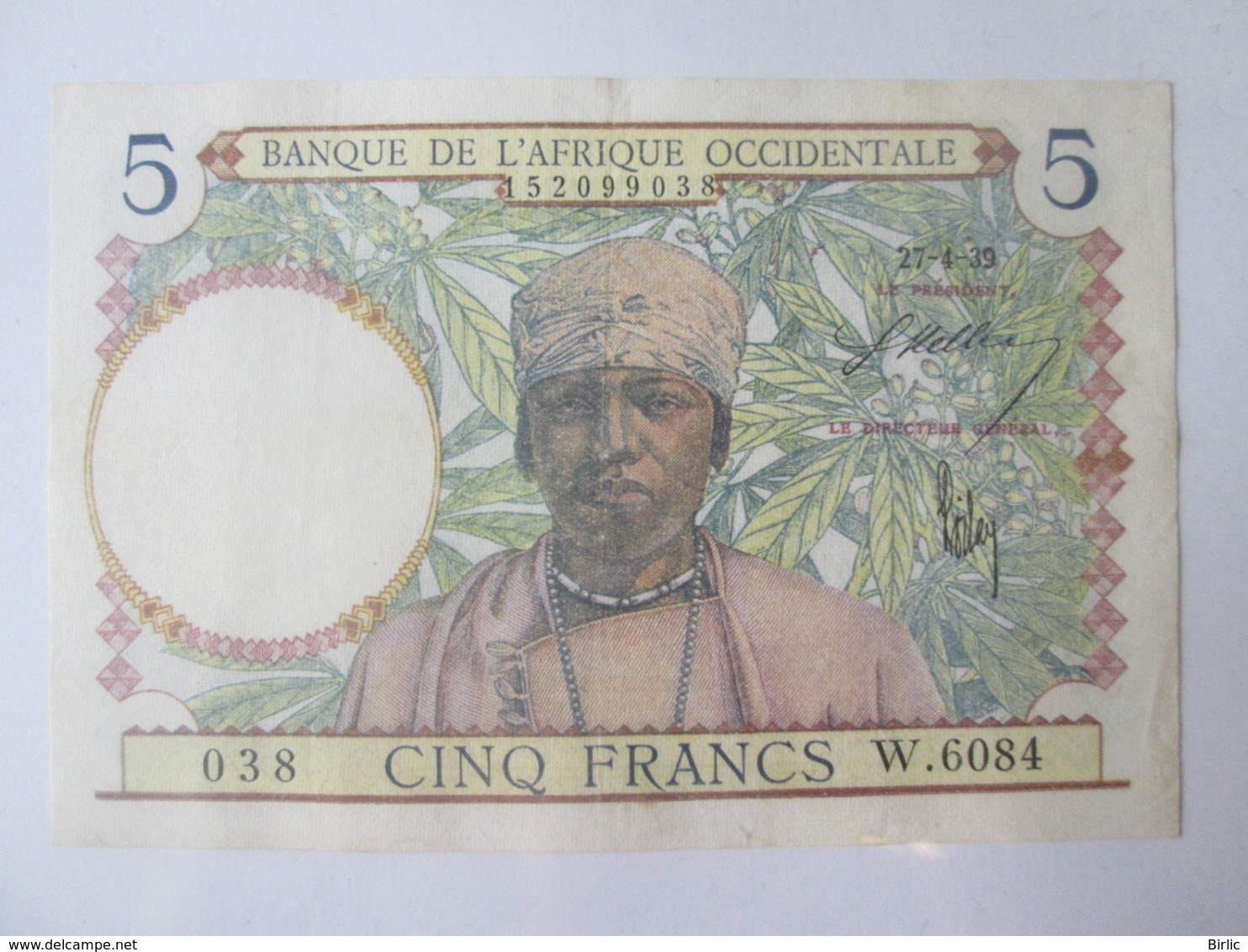 French West Africa 5 Francs 1939 Banknote - West African States