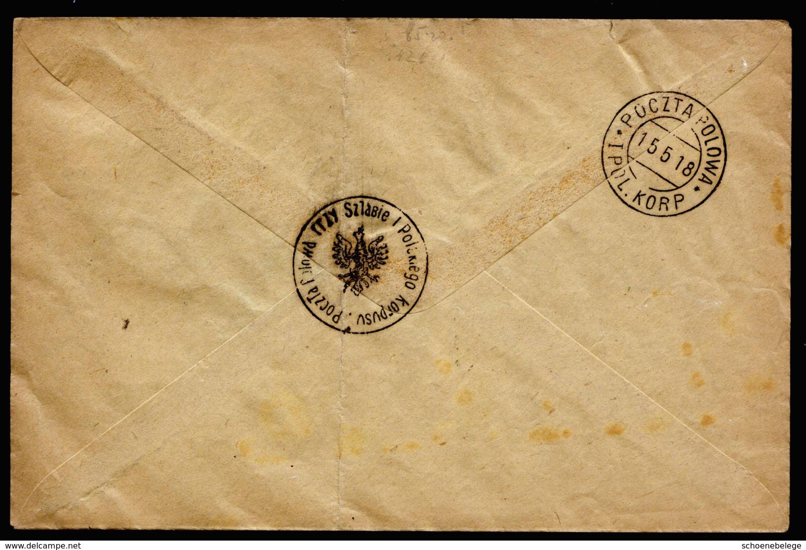 A6334) Poland Polnisches Korps 9 Verschied. Marken Auf Umschlag Mit Stempel 15.5.18 - Covers & Documents