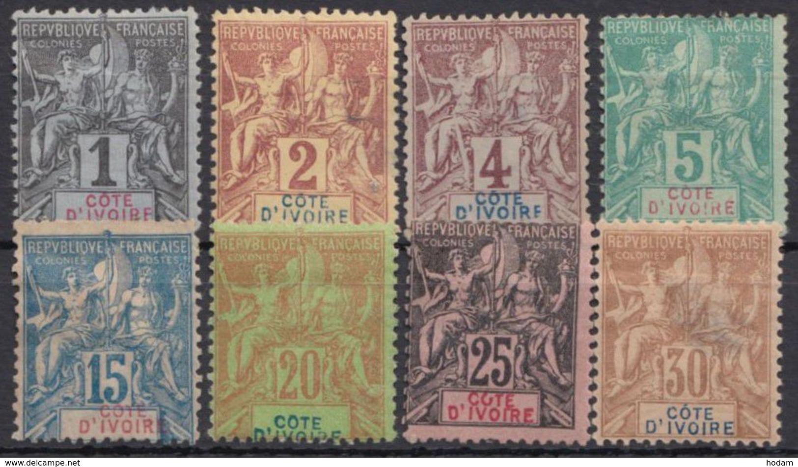 """Mi-Nr. Aus 1/9, """"Allegorie"""", 1892, 8 Versch. Werte, Falzrest, * - Côte D'Ivoire (1960-...)"""