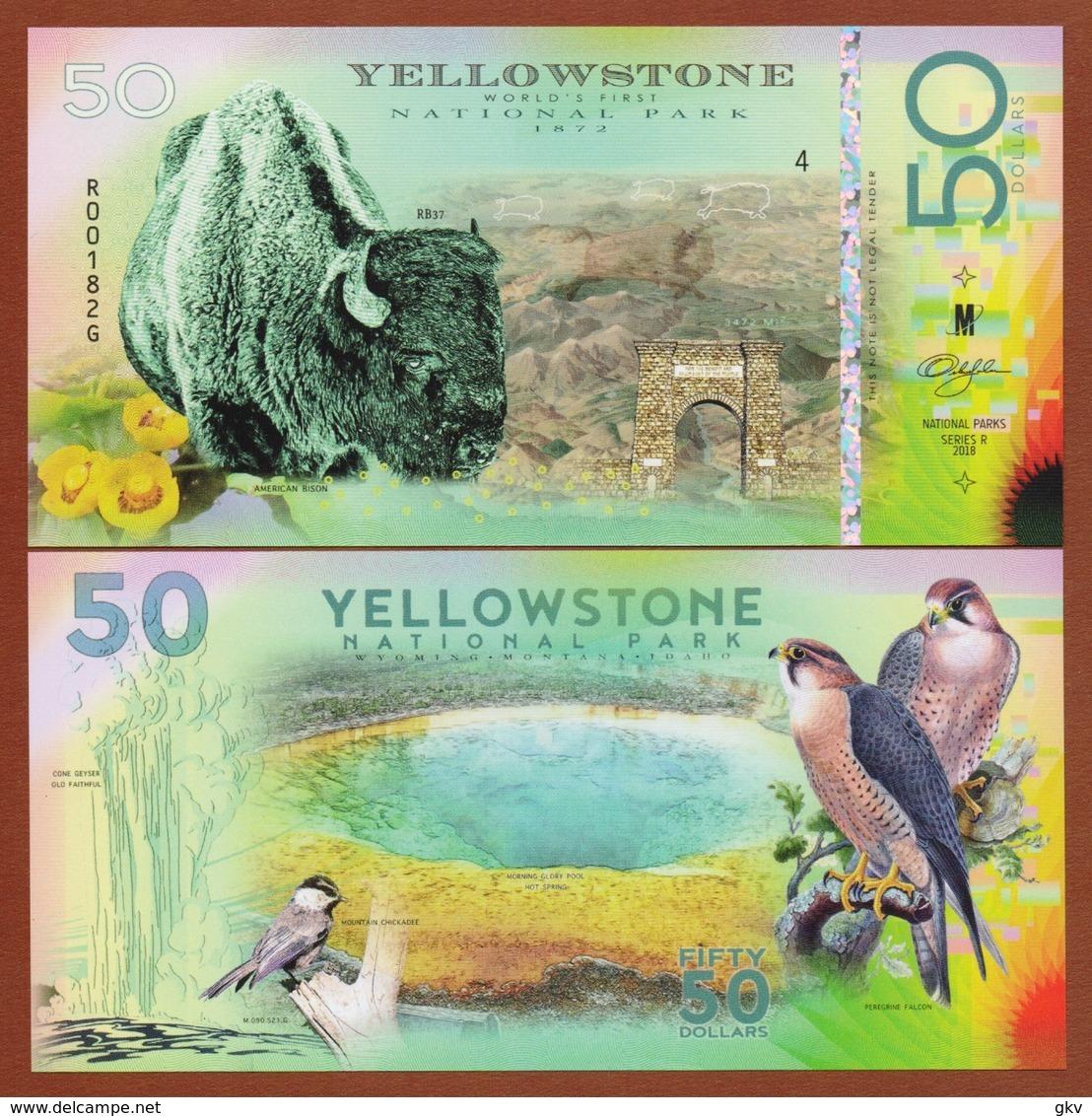 YELLOWSTONE National Park (USA) 50 Dollars 2018 Polymer UNC - Bankbiljetten
