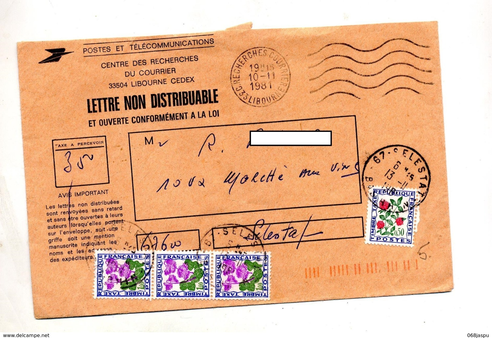 Lettre Flamme Muette Libourne Recherche Taxée Nachgebuhr Selestat Fleur - Postmark Collection (Covers)