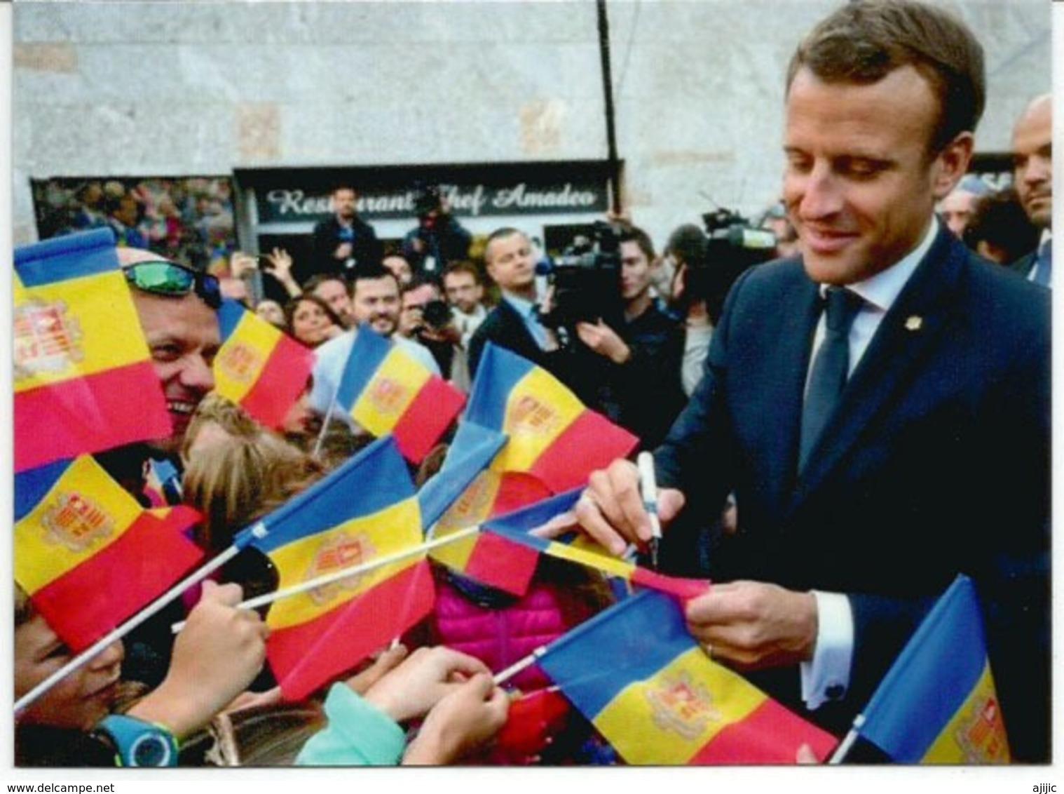 Visite Du President Macron , Co-Prince D'Andorre,  Septembre 2019.  De Gaulle Co-Prince Au Dos, Avec Cachet Andorre - French Andorra