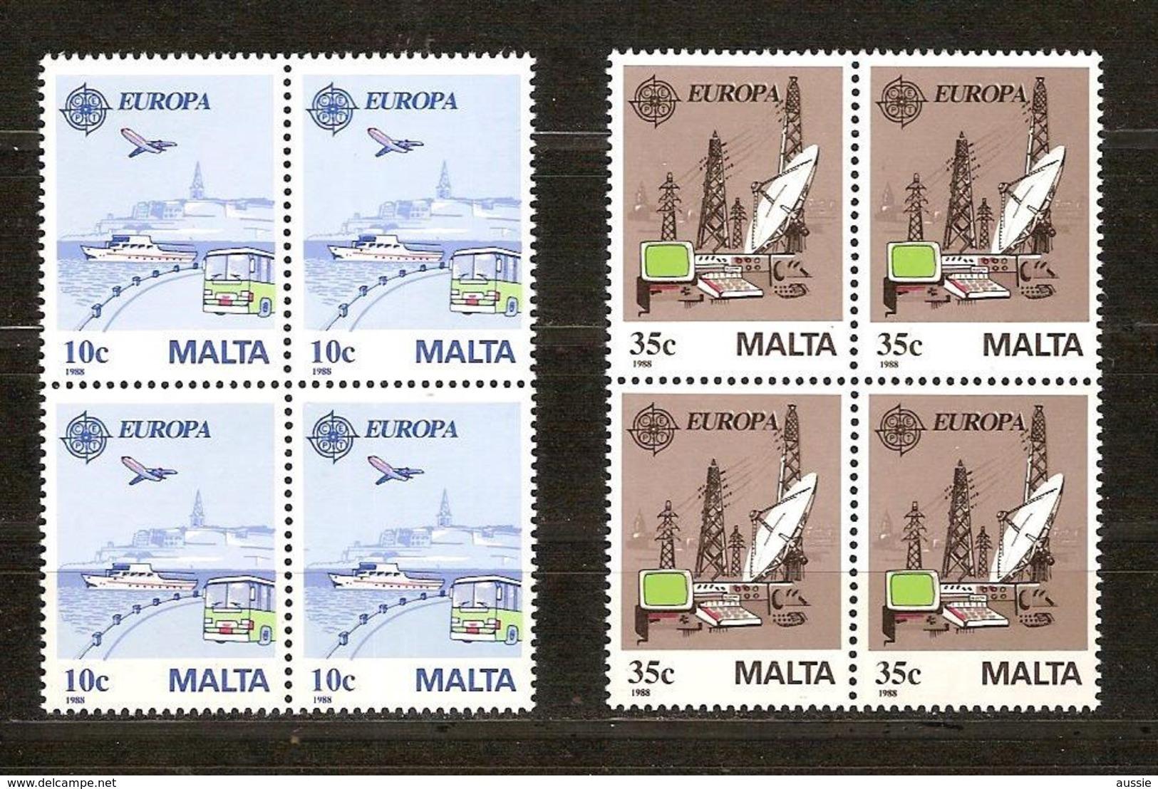 Malte Malta CEPT 1988 Yvertn° 773-74 *** MNH 4 Séries Cote 24,00 Euro - 1988