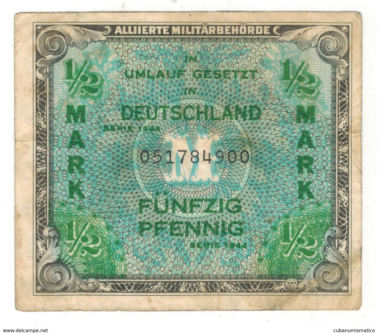 Germany Allied Occup. 1/2 Mk. 1944. P-191a. USED. - [ 5] 1945-1949 : Occupation Des Alliés
