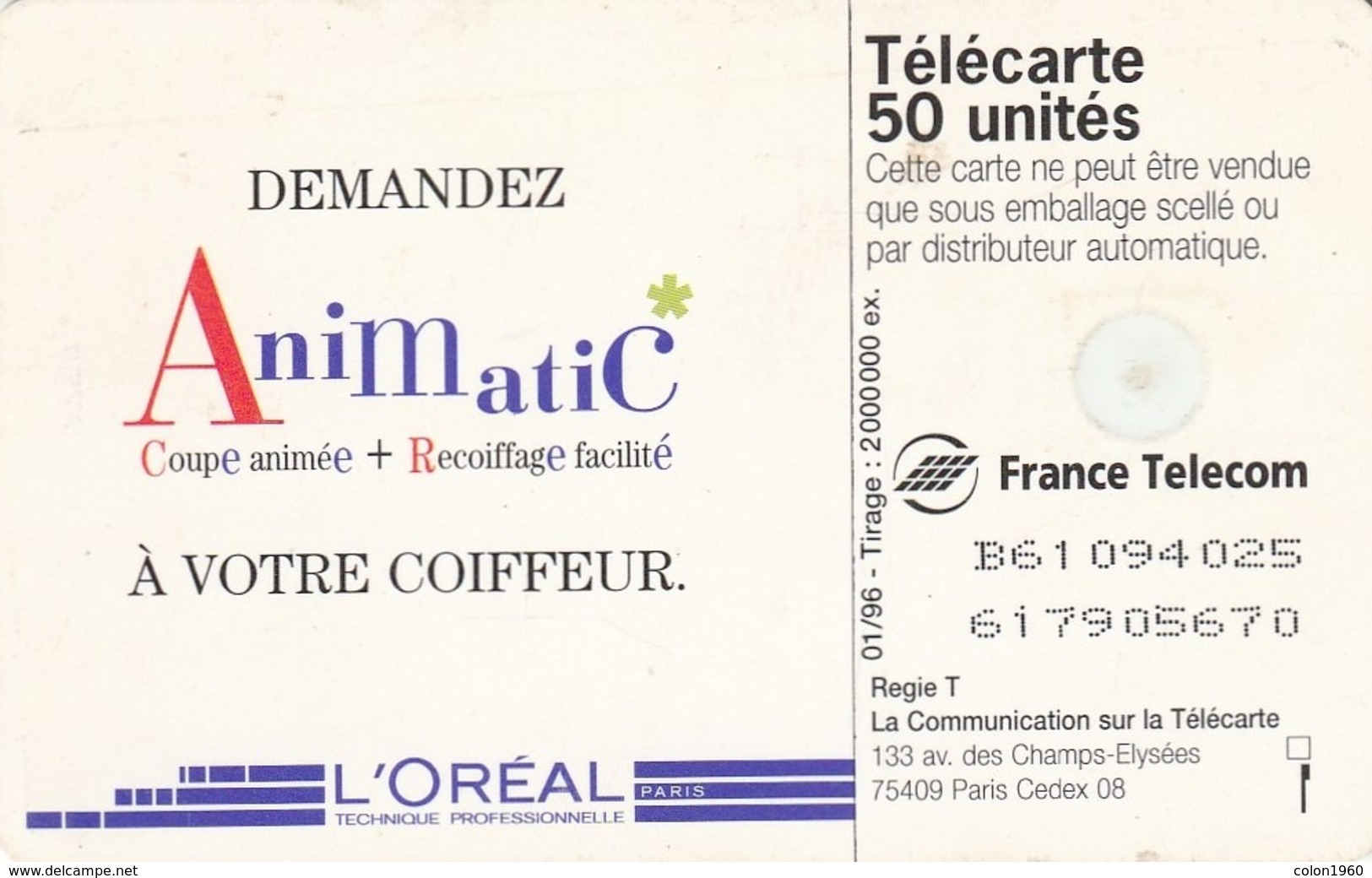 FRANCIA. (CHICAS). L'Oréal - Animatic (GEM1B Red), 50U. 0620B. 01/96. (001) - Erótica (Adultos)