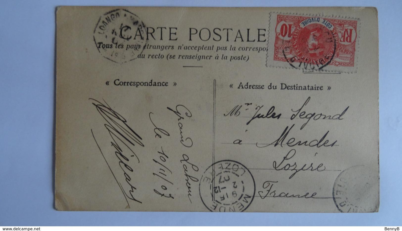 CP Cöte D'Ivoire -Aboisso- Tam-Tam De LOANGO à Mende (France) 1907 - Avec Timbre AOF 10c Rouge (voir Scan) - Côte-d'Ivoire