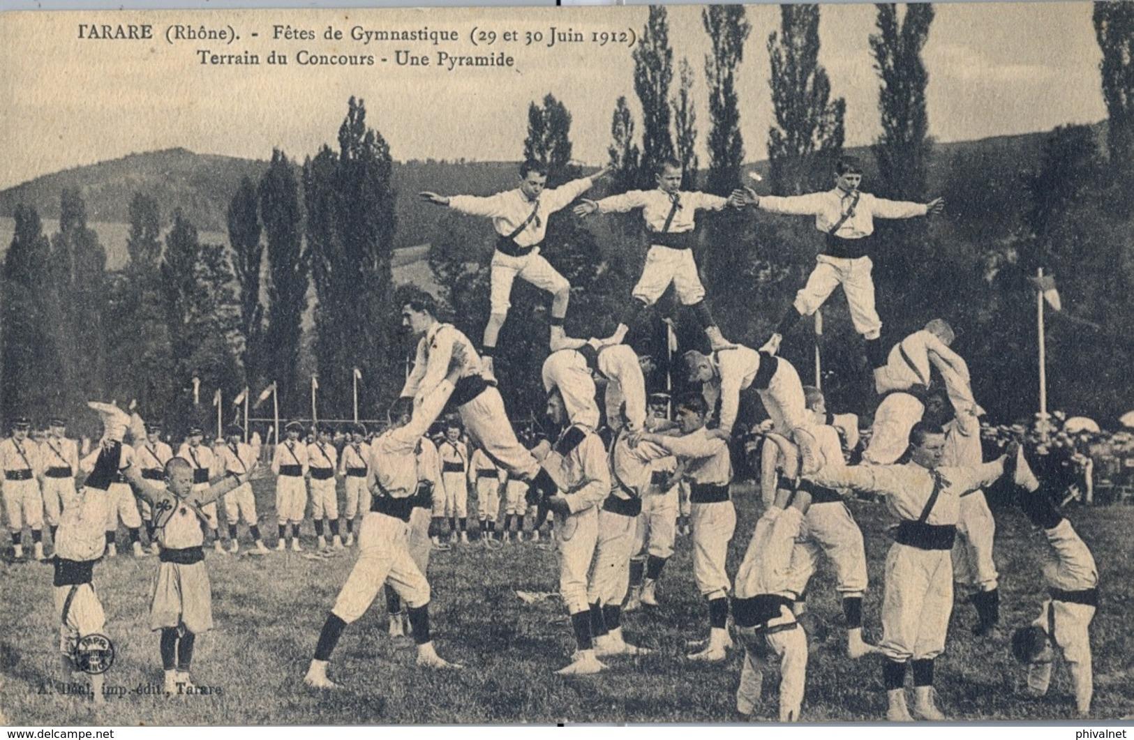 1912 FRANCIA - TARARE , T.P. SIN CIRCULAR ,  FÉTES DE GYMNASTIQUE , GIMNASIA , TERRAIN DU CONCOURS - Gymnastique