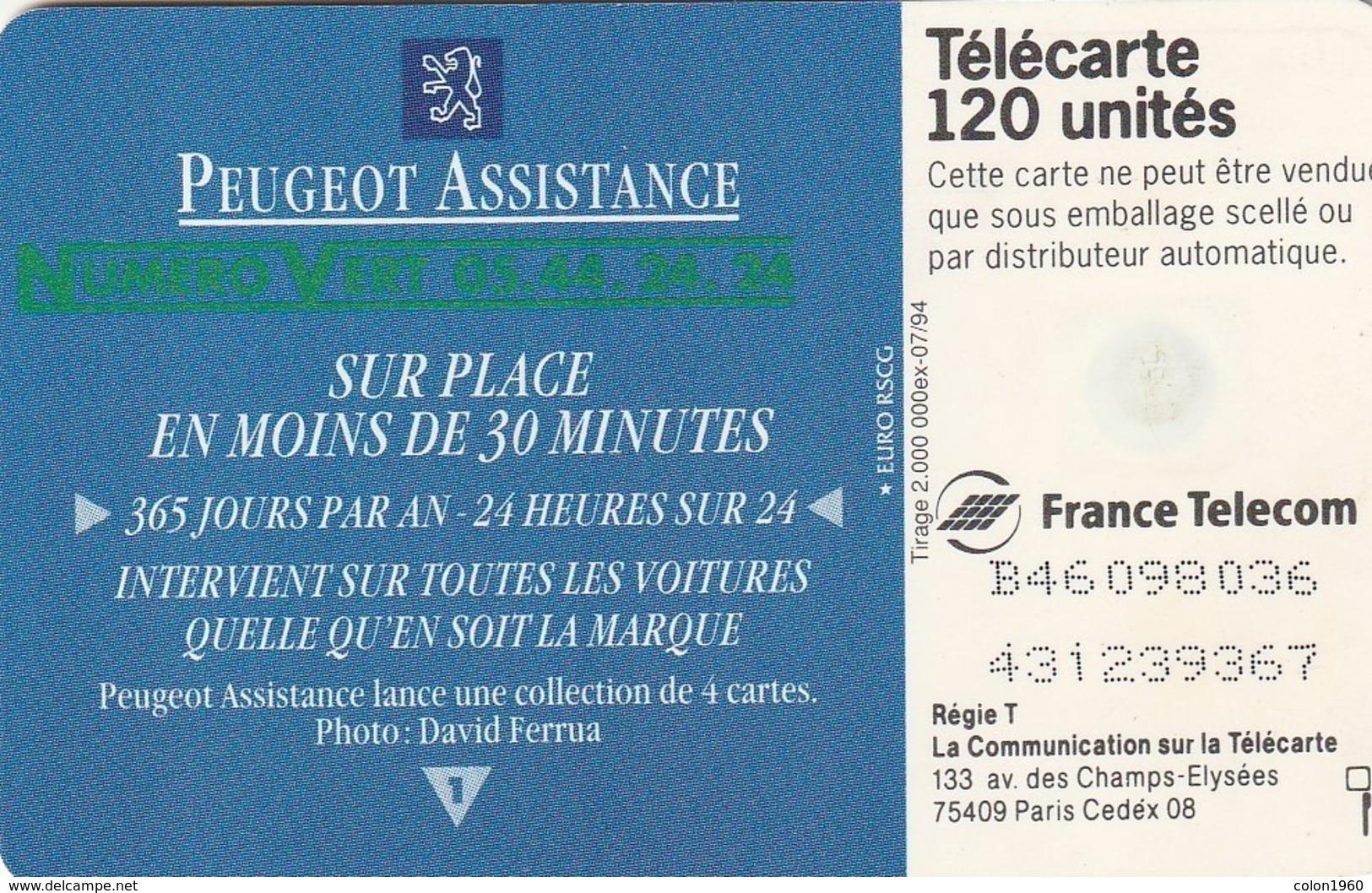FRANCIA. Peugeot Assistance 1, 120U. 0486. 07/94. (008) - Erótica (Adultos)