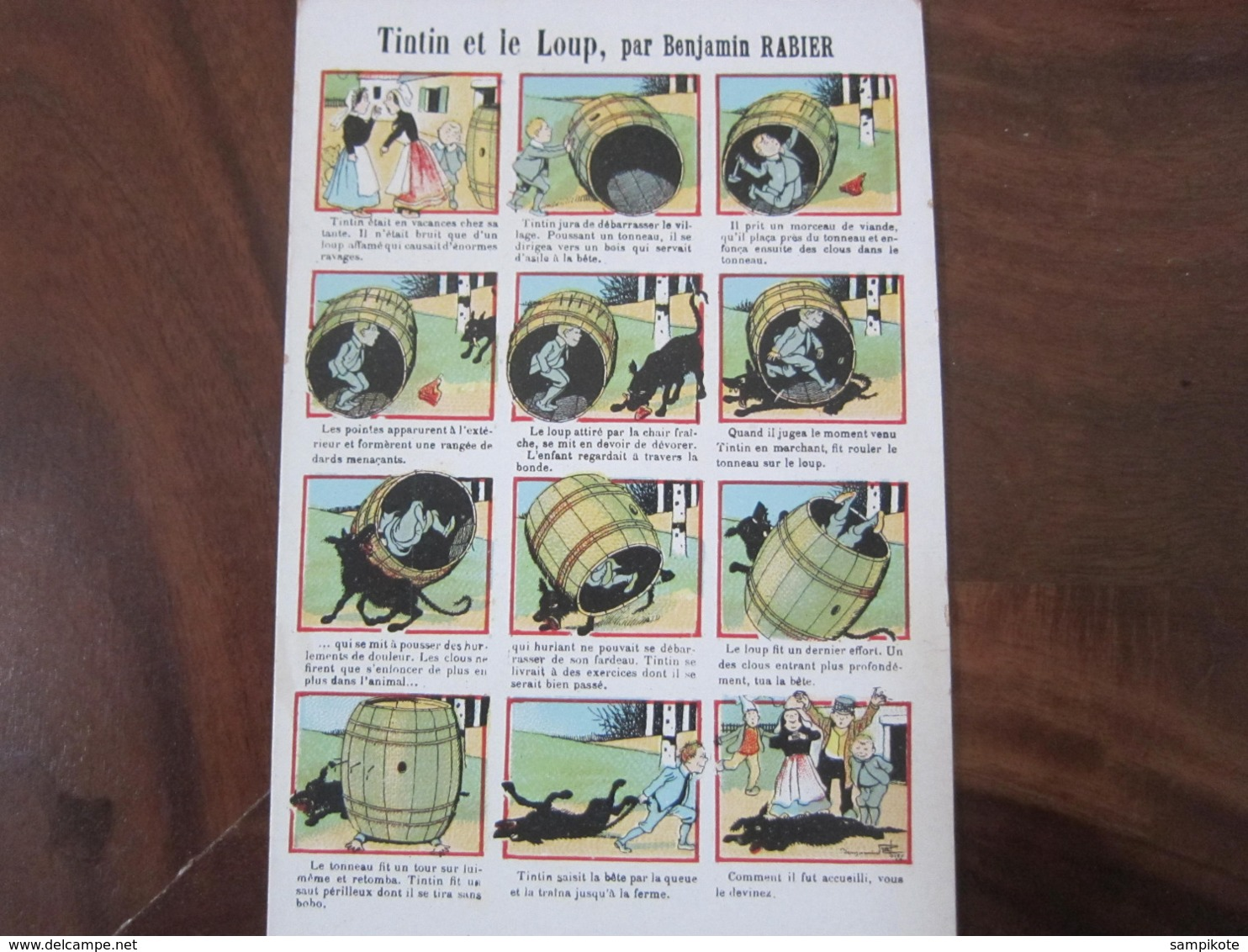 Carte Postale Illustrateur Benjamin Rabier Tintin Et Le Loup - Rabier, B.