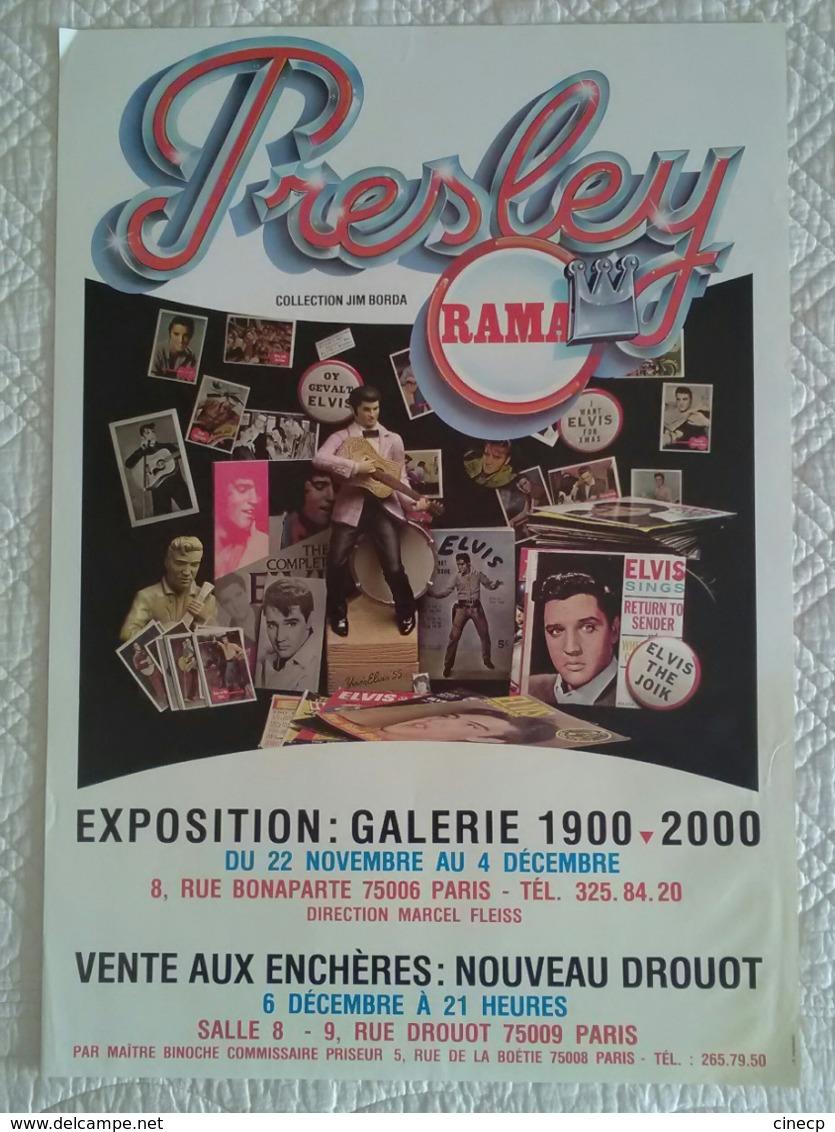 AFFICHE ANCIENNE ORIGINALE EXPOSITION ELVIS PRESLEY VENTE AUX ENCHERES DROUOT - Posters