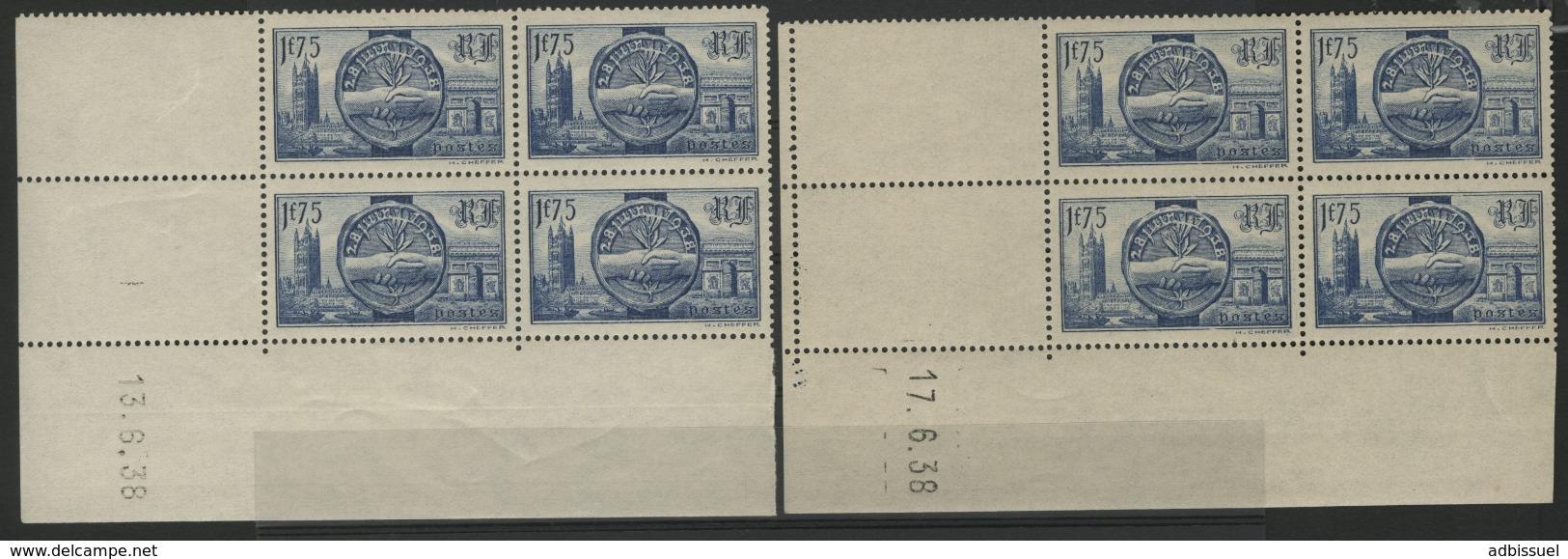 """N° 400 (x8) Cote 14 €. Deux Coins Datés Du 13 Et 17/6/38 / Blocs De Quatre """"Visite Des Souverains Britanniques"""". - 1930-1939"""