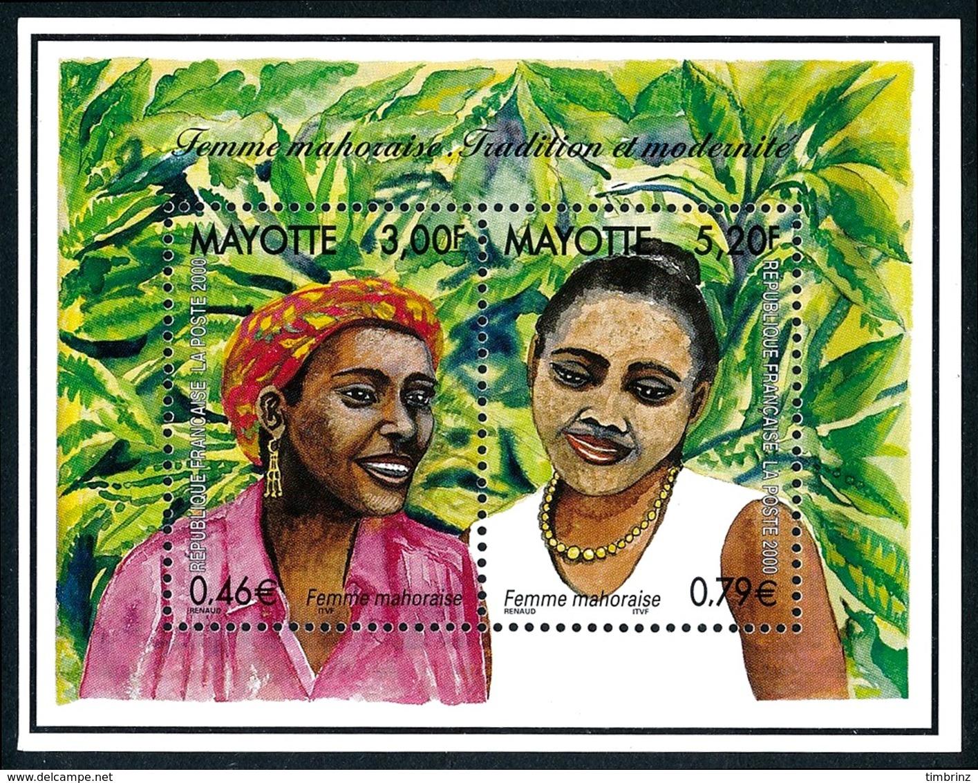 MAYOTTE 2000 - Yv. 85 Et 86 = BF3 **   Faciale= 1,25 EUR - Femme Mahoraise (2 Val.)  ..Réf.AFA23331 - Mayotte (1892-2011)