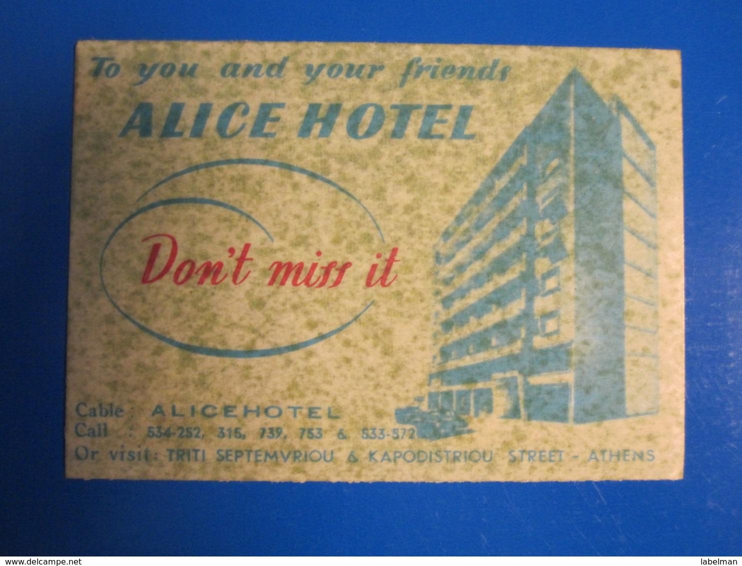 HOTEL MOTEL INN RESIDENCE ALICE ATHENS GREECE LUGGAGE LABEL ETIQUETTE AUFKLEBER DECAL STICKER - Etiketten Van Hotels
