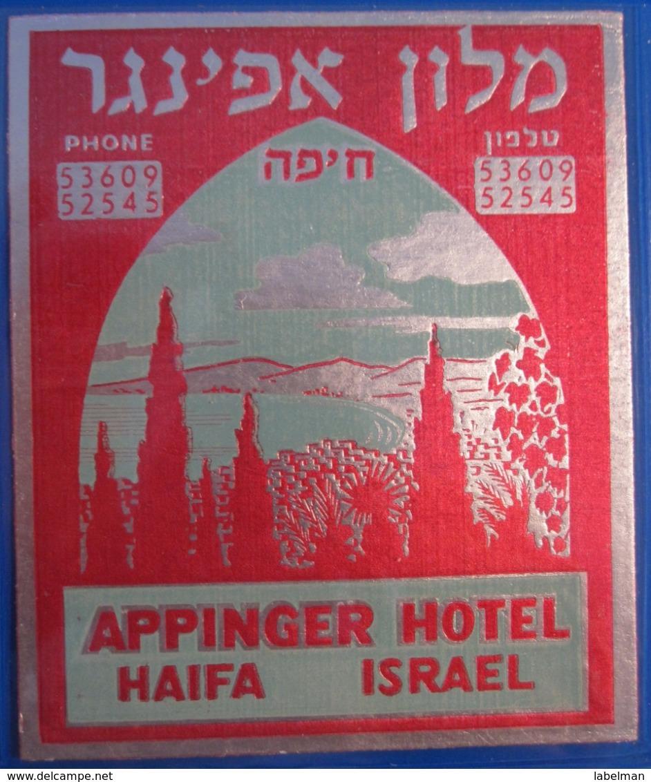 HOTEL PENSION APPINGER GERMAN TEMPLER COLONY PORT HAIFA ISRAEL PALESTINE STICKER DECAL LUGGAGE LABEL ETIQUETTE AUFKLEBER - Etiketten Van Hotels