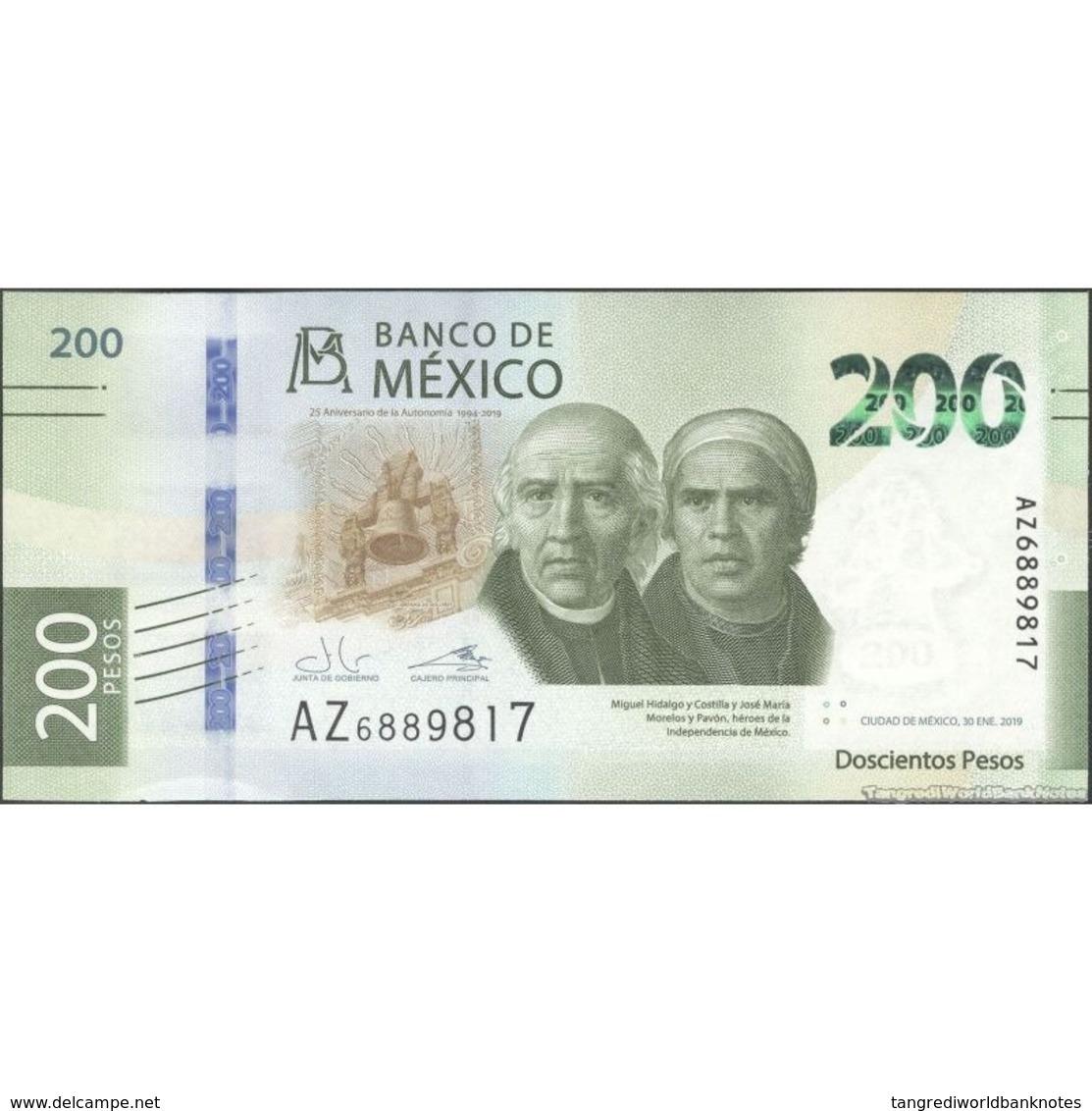 TWN - MEXICO NEW - 200 Pesos 30.1.2019 - 25th Ann. Of Autonomy Of Banco De México - Prefix AZ UNC - Messico