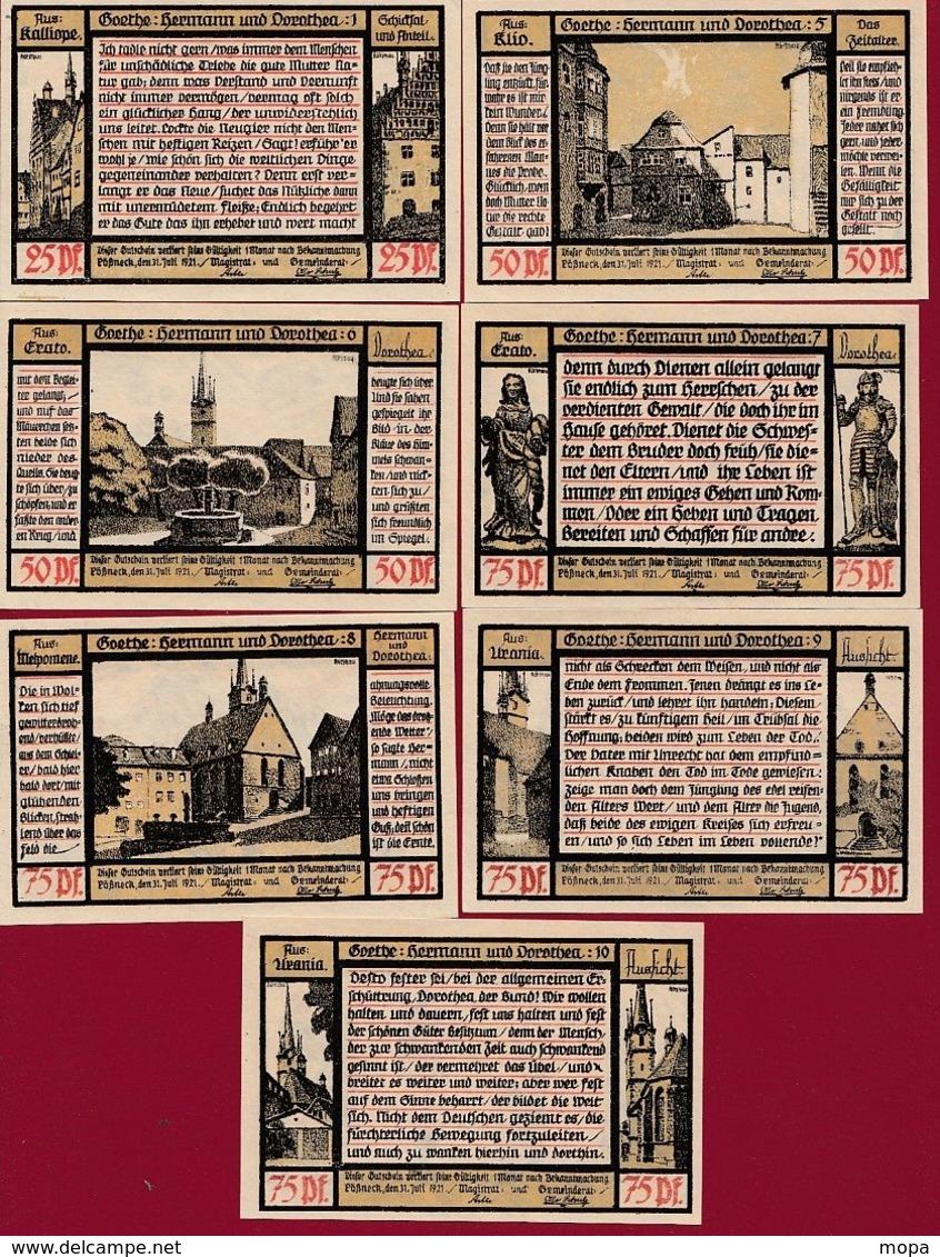 Allemagne 7 Notgeld  Stadt Pössneck  Dans L 'état N °20 - Collections