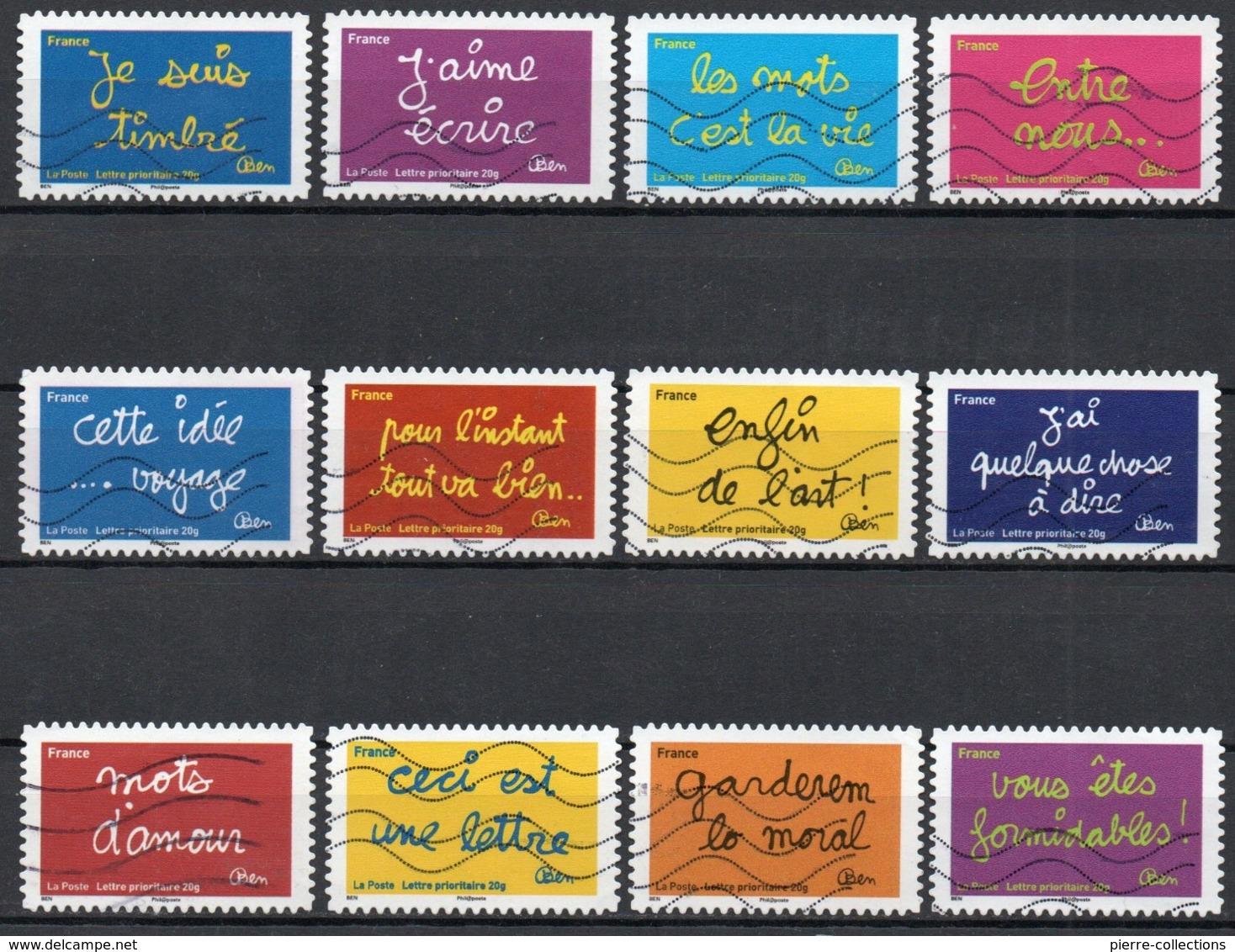 France - Adhésifs N° 609 à 620 Oblitérés - Série Complète - Sourires Par BEN - Illustrateur Benjamin Vautier - Francia