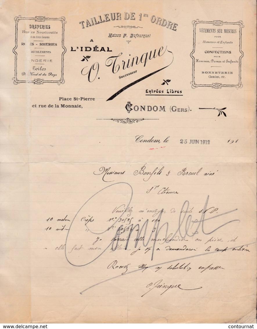 """32 CONDOM En Armagnac COURRIER 1912  TAILLEUR De 1er Ordre """" A L' Idéal """" TRINQUE    - X37 Gers - France"""