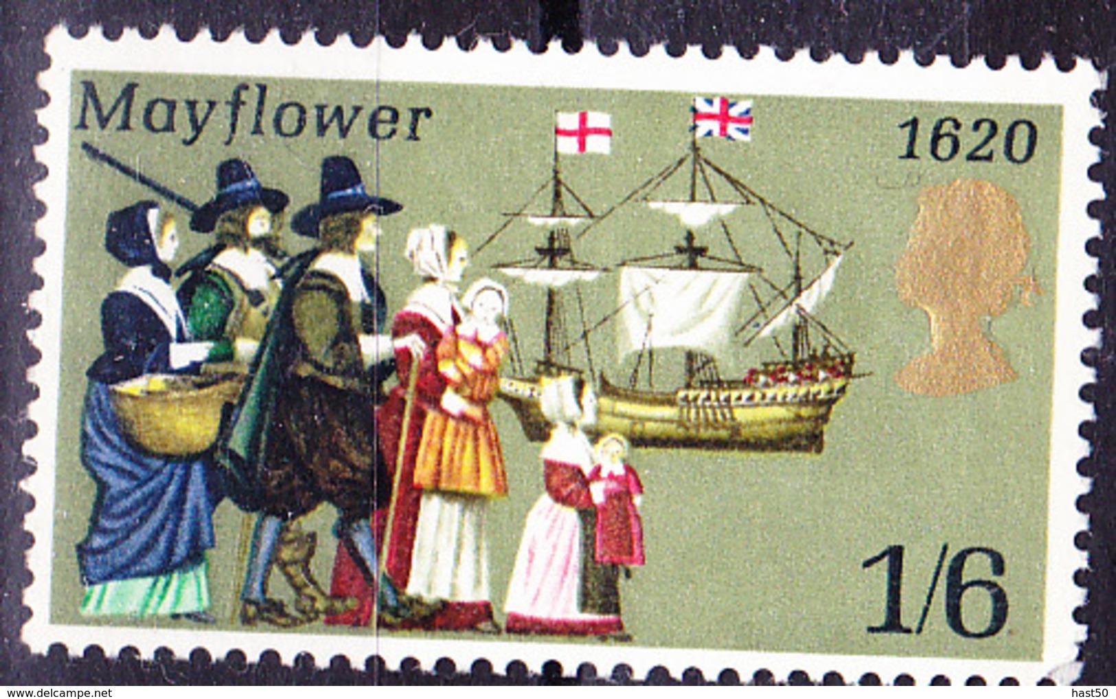 """Großbritannien Great Britain Grande-Bretagne - Ausreise Der """"Mayflower"""" Aus Plymouth (MiNr: 542) 1970 - Postfrisch MNH - Unused Stamps"""