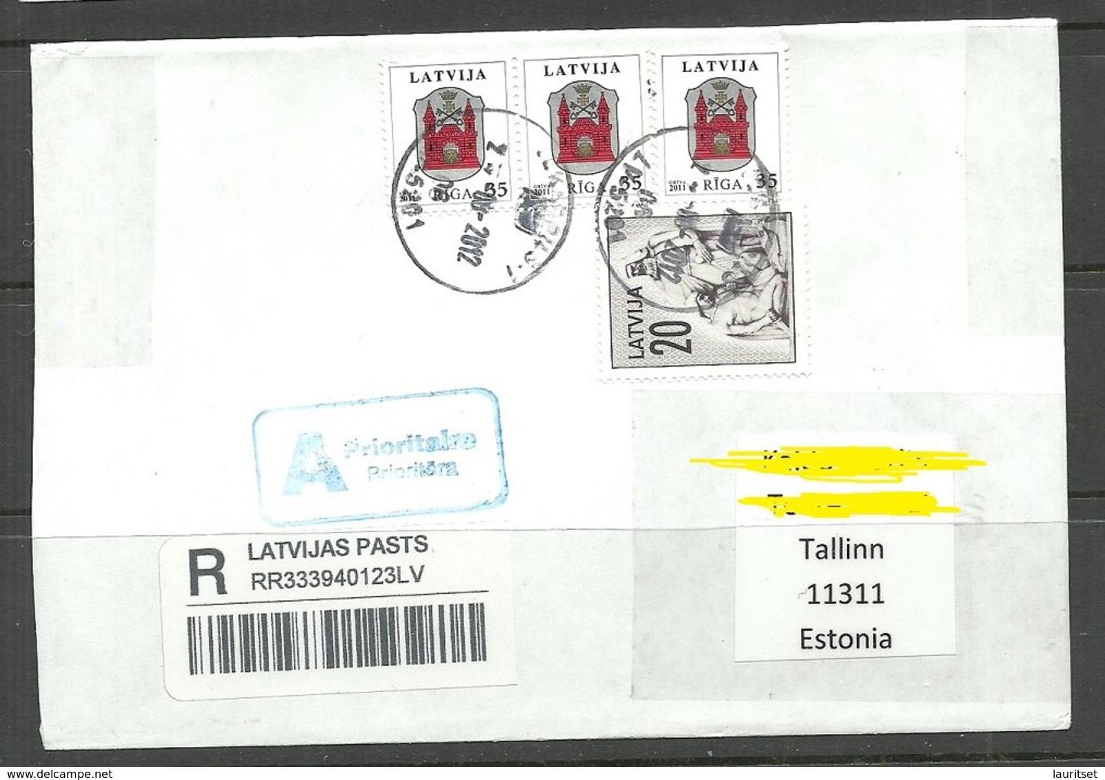 LETTLAND Latvia 2012 Registered Letter To Estonia - Lettland