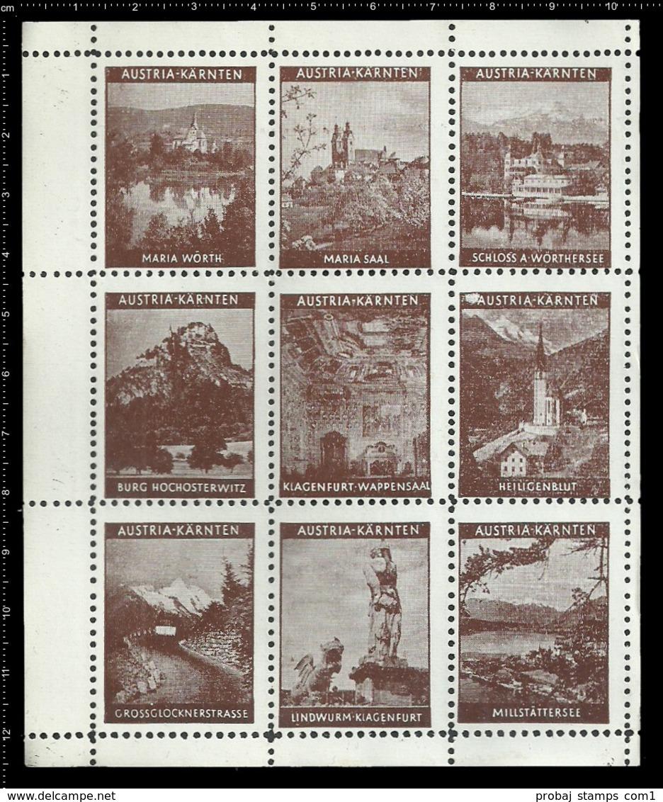 Austria Old Sheet Of 9 Austrian Poster Stamps Cinderellas Reklamemarken Erinnofili Vignette Carinthia Kärnten Klagenfurt - Cinderellas