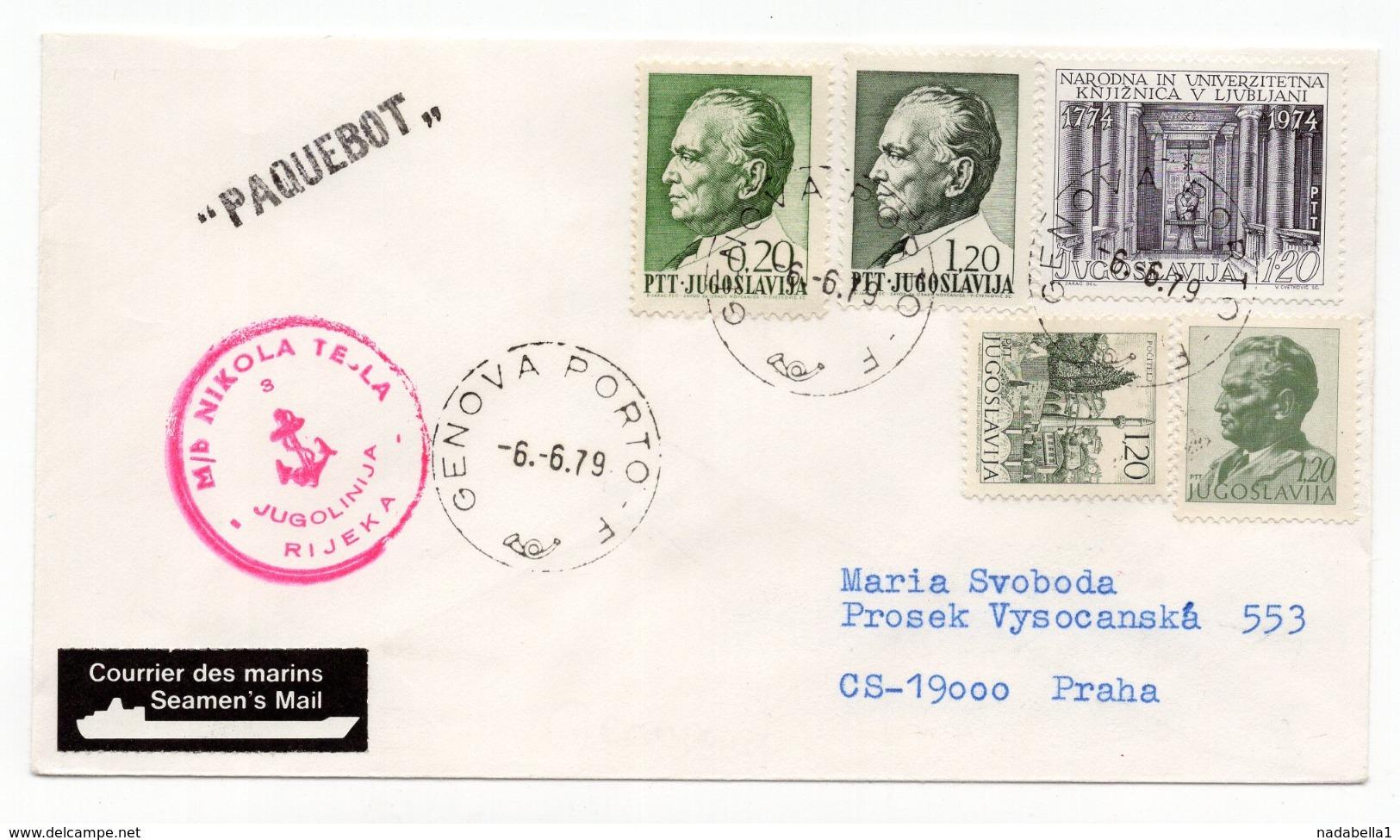 1979 YUGOSLAVIA, SHIP MAIL, MB NIKOLA TESLA, CANCELATION IN ITALY, GENOVA PORTO - 1945-1992 Socialist Federal Republic Of Yugoslavia
