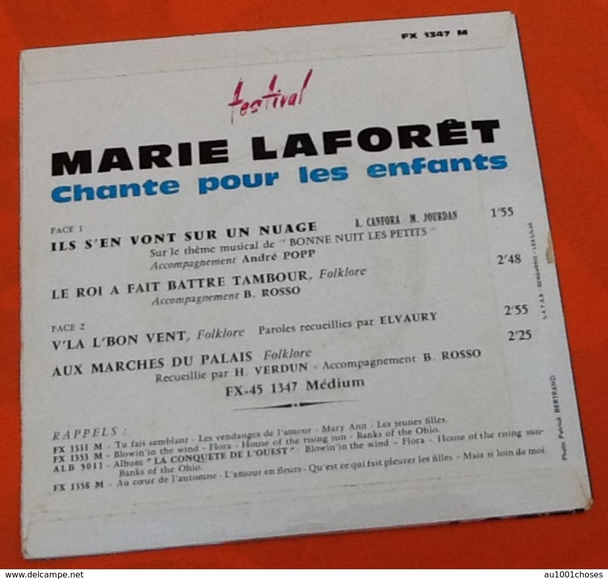 Vinyle 45 Tours  Marie Laforêt Chante Pour Les Enfants Ils S' En Vont Sur Un Nuage (1960') - Disco, Pop