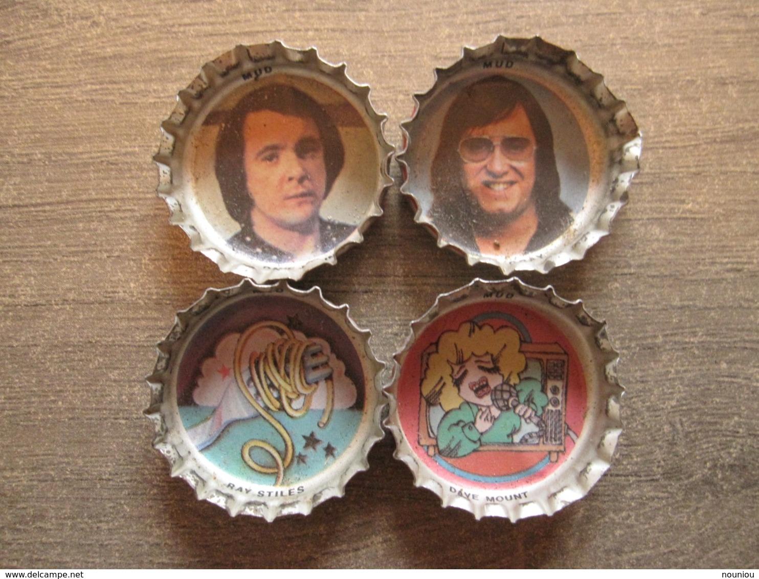 4 Coca-cola Caps Capsule - Mud English British Rock Band Music - Brassico Ghlin (Belgium) - Soda