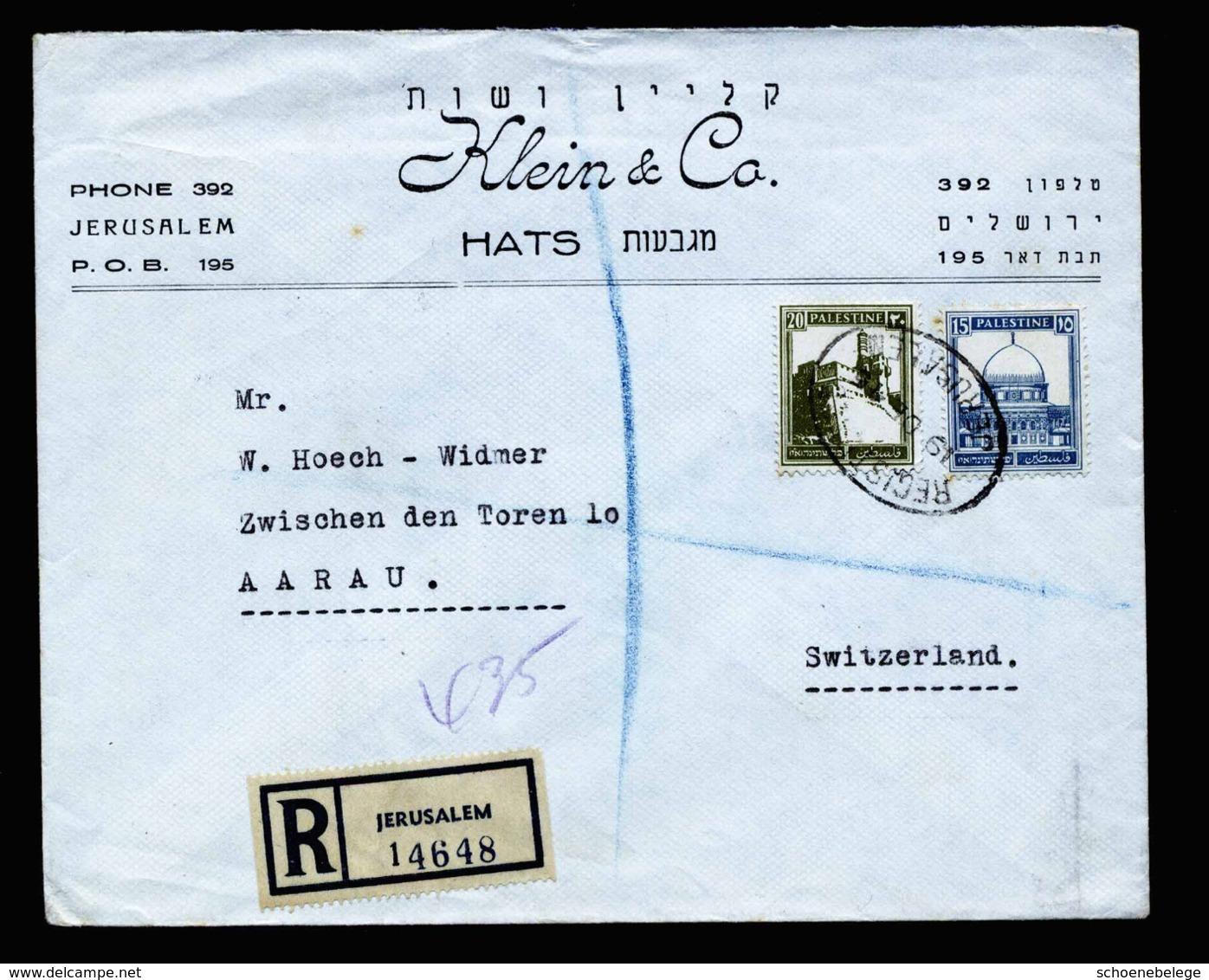 A6348) Palästina Palestine R-Brief Jerusalem 19.12.45 N. Aarau / Schweiz - Palästina