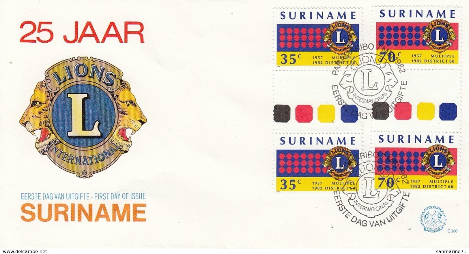 FDC SURINAM 983-984,Lions - Rotary, Lions Club