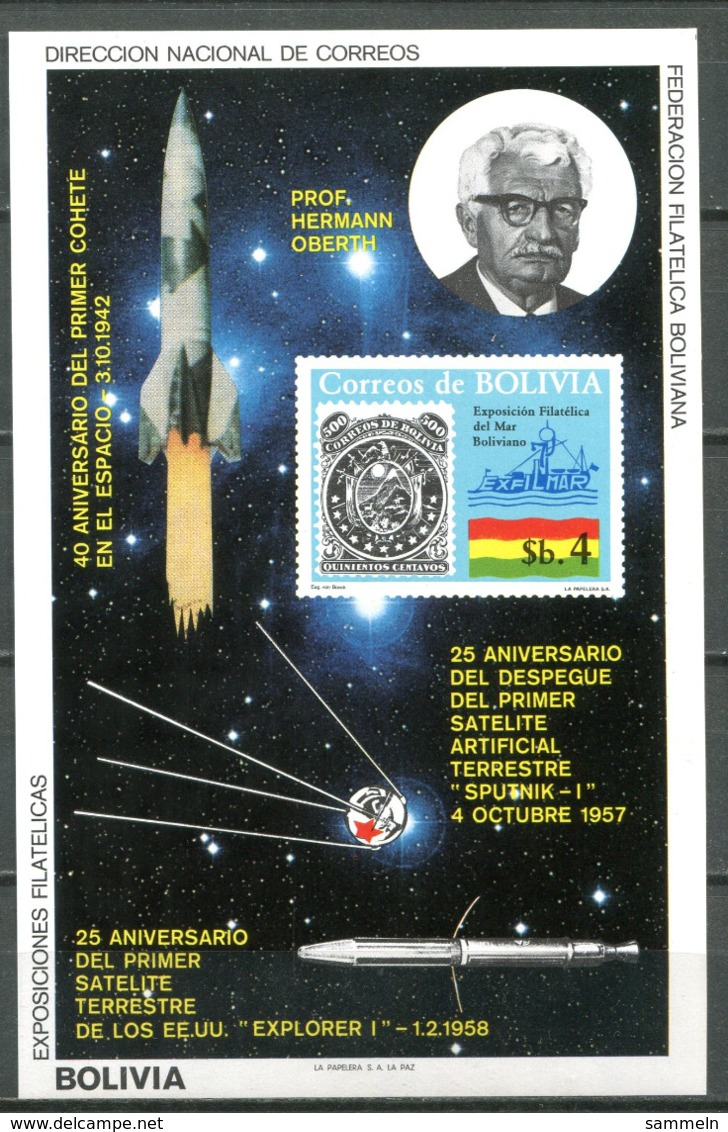 5071 - BOLIVIEN - Block 130 ** - WELTRAUM / PROF. OBERTH / SPACE - Bolivien