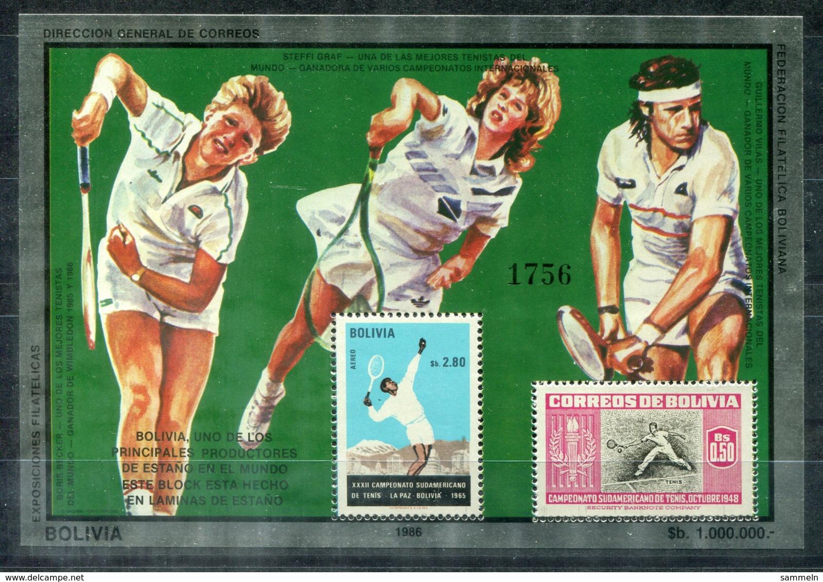 5076 - BOLIVIEN - Metall-Block 159 ** - TENNIS / BORIS BECKER / STEFFI GRAF / GUILLERMO VILAS - Bolivien