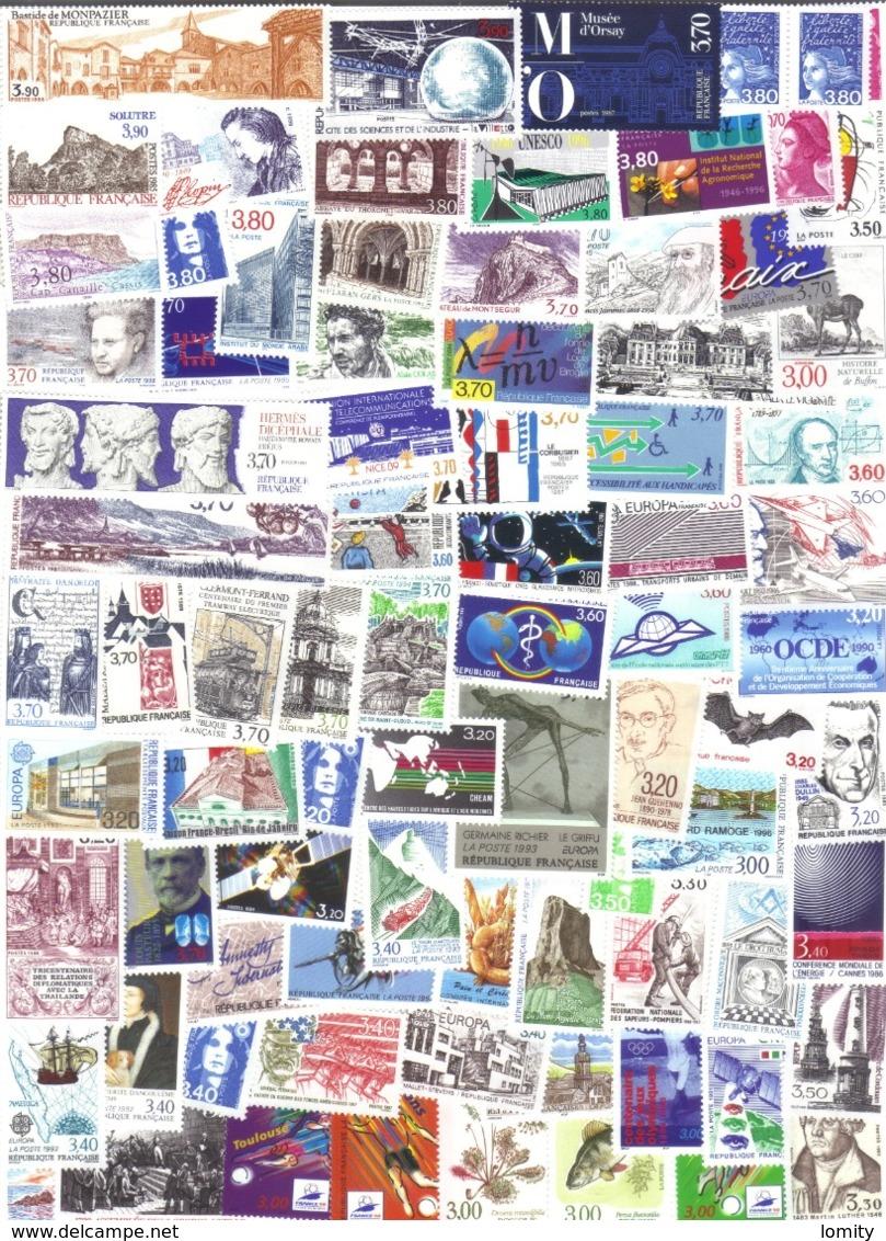 Lot De Timbres Neufs France Lot Sous Faciale 3FX30, 3.20FX10, 3.30FX2, 3.40FX13 3.50FX4,  Etc Surtaxes Non Comptées - France