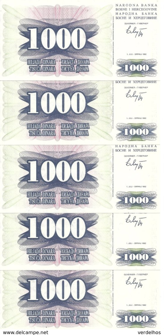 BOSNIE-HERZEGOVINE 1000 DINARA 1992 UNC P 15 ( 5 Billets ) - Bosnia Y Herzegovina