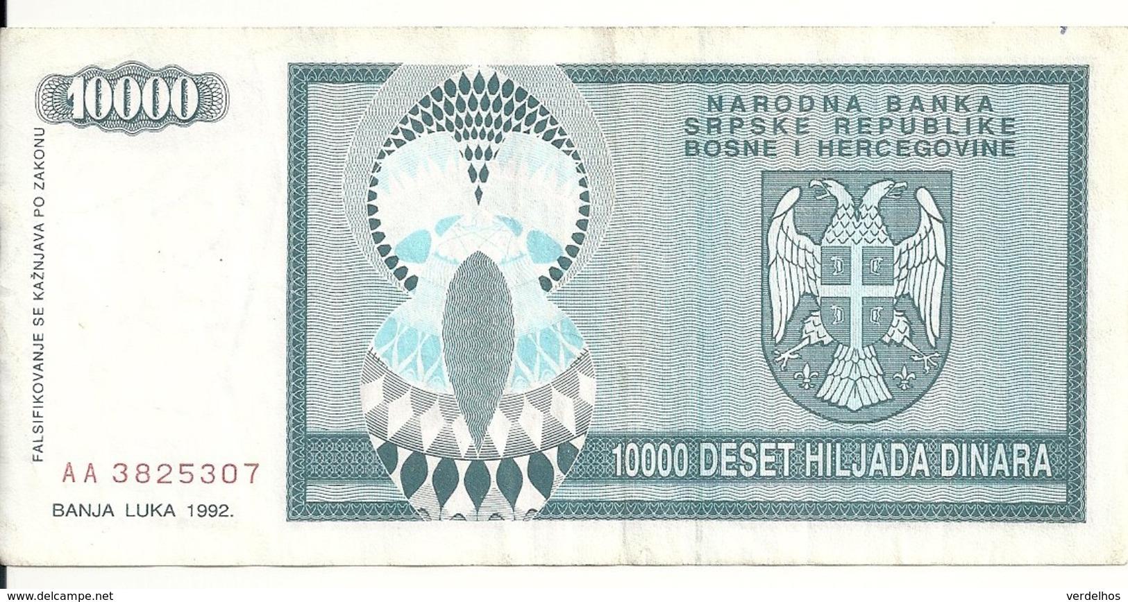 BOSNIE HERZEGOVINE 10000 DINARA 1992 VF P 139 - Bosnia Erzegovina