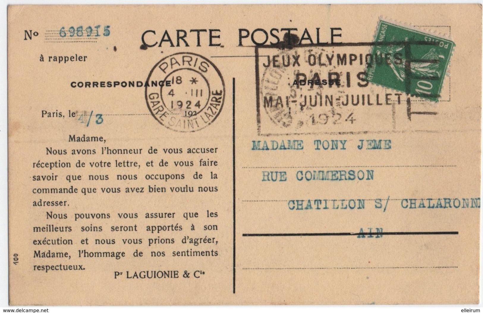 PARIS. GARE SAINT-LAZARE. CACHET JEUX OLYMPIQUES 1924 Sur SEMEUSE.  CARTE POSTALE MAGASINS Du PRINTEMPS. - 1903-60 Semeuse Lignée