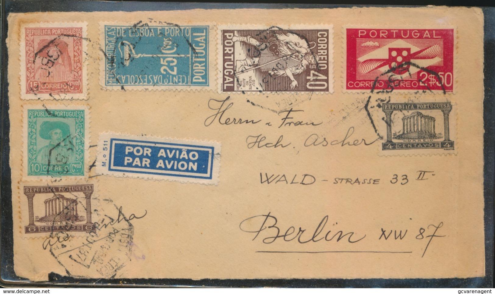 HALF COVER  POR AVIAO  TO BERLIN - 1910-... République