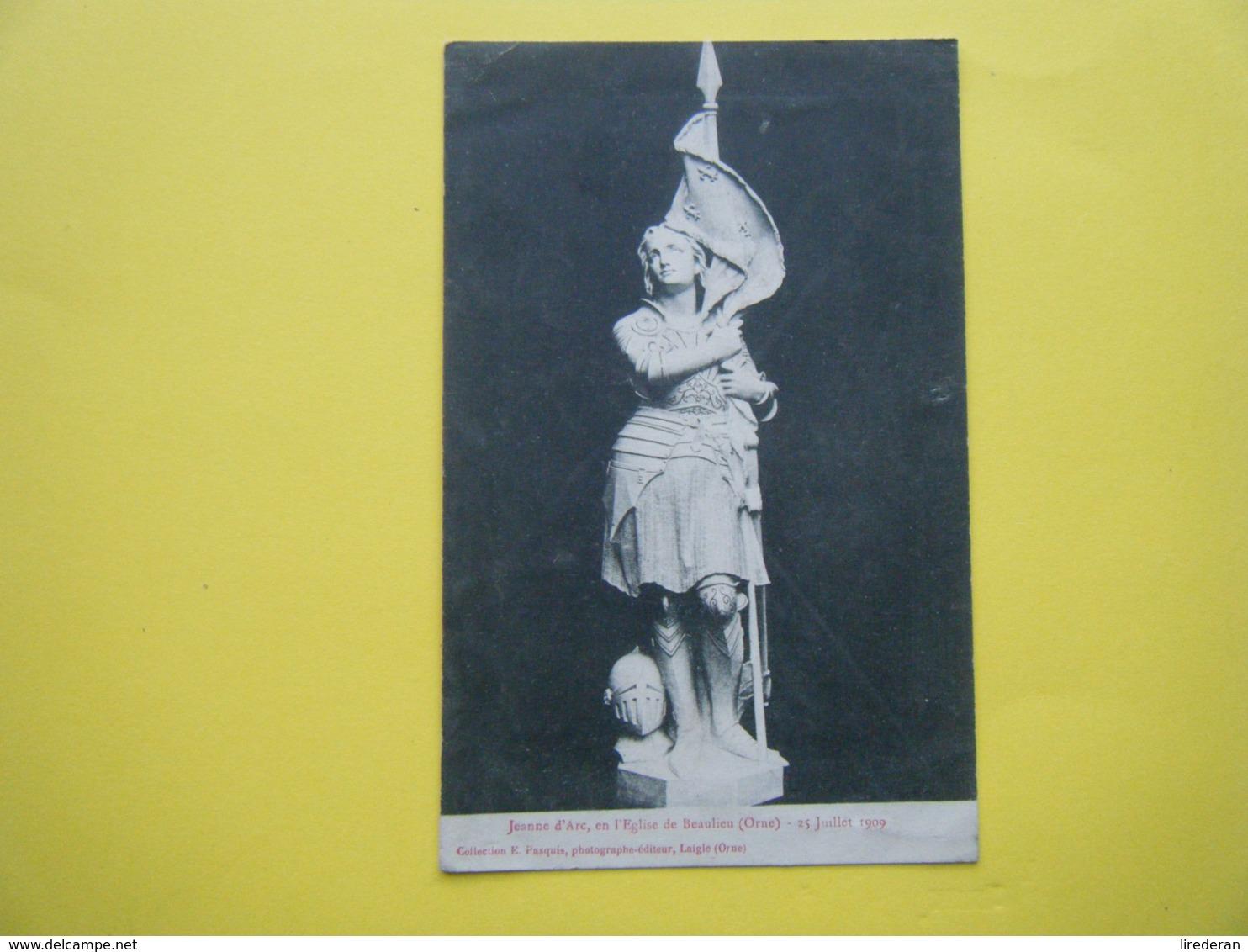 BEAULIEU. L'Eglise. La Statue De Jeanne D'Arc. - Autres Communes