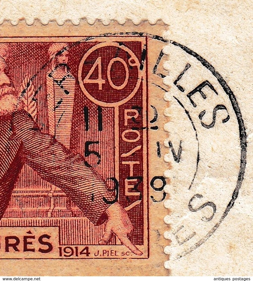 Lettre 1939 Versailles Yvelines Timbre Jean Jaurès 40 Centimes Libourne Gironde - Frankrijk