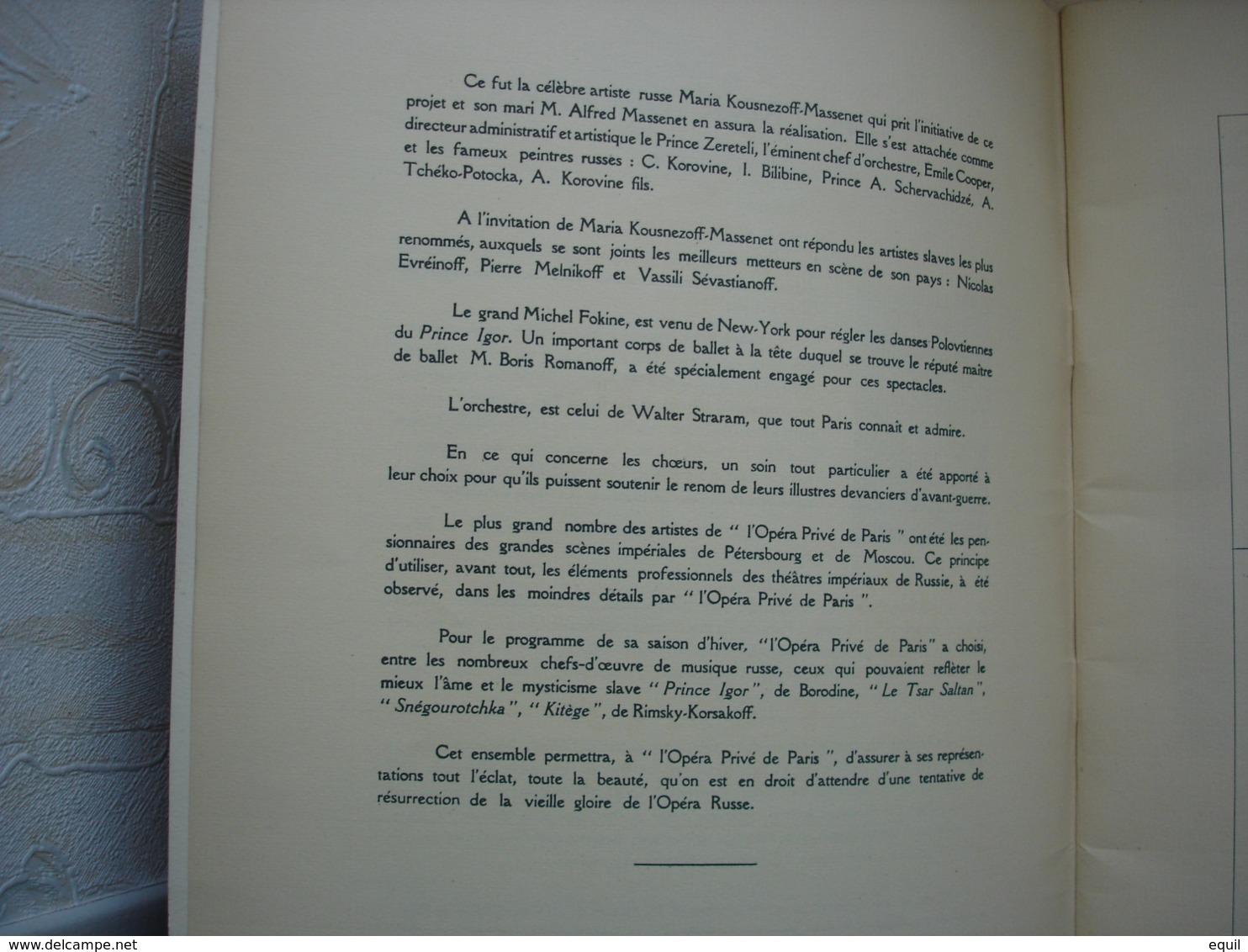 Deux Programmes De L' Opéra Privé De Paris.RUSSE Première Saison.datés 1929 Prince Igor De Borodine Et TSAR SALTAN - Programmi